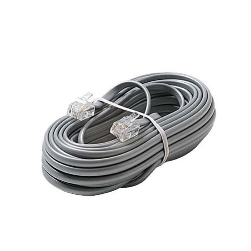 100 FT Telephone Cable Cord Flat Modular Silver Satin 4 Conductor with RJ11 Connector Each End Telephone Line Cord Cable 6P4C RJ11 4-Conductor Phone Extension Cable