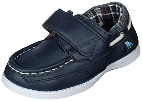 B.U.M. Equipment Toddler Boys Slip On Moccasin Style Boat Shoe, Navy PU, Size 7 M US Toddler' ()