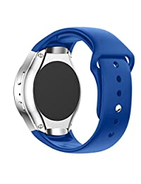 Samsung Galaxy Gear S2 SM-R720 Smart Watch Band, Perman Luxury Silicone Watch Band Strap (Blue)