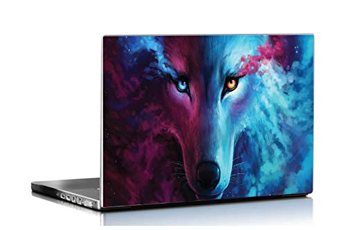ISEE 360® Laptop Skin Cover Laminated Wolf Stickers and Free Track pad Skin for Girls Boys Kids Students Office Vinyl Printed Multicolored Floral Small HD Quality Sticker 15.6 Inches s17