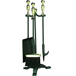 UniFlame 4-Piece Polished Brass/Black Fire Set with F-3692 Ball Handle