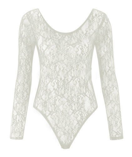 LADIES WOMEN FLORAL LACE BODYSUITS LONG SLEEVE LEOTARD BODY LACE TOP SIZE 8-26 (M/L 12-14, WHITE)