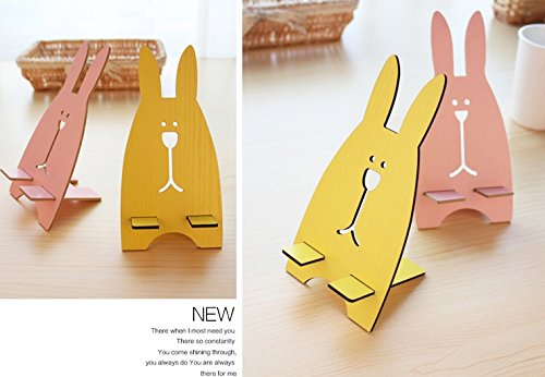 Wooden Rabbit Cell phone Stand Display Holder Cradle, Cute Rabbit Phone Docking Bench, Shop Display Stand, Animal Hospital Decoration (Light Pink)