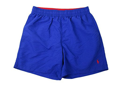 Polo Ralph Lauren Men's Hawaiian Solid Swim Boxer (Small, Royal Blue/Rugby Red)