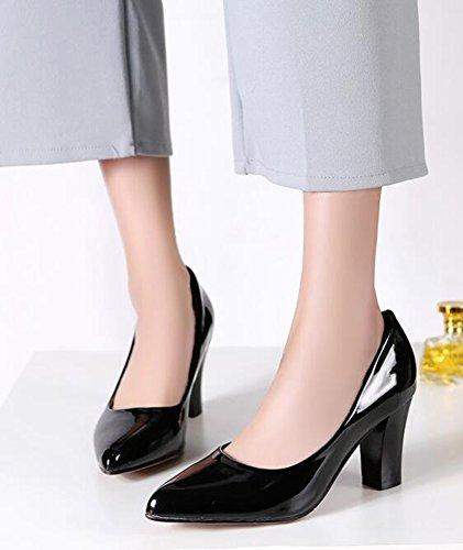 Chfso Donna Classica In Vernice Massiccia Punta A Punta Antiscivolo Su Tacco Alto Scarpe Con Tacco Alto E Grosso Nero