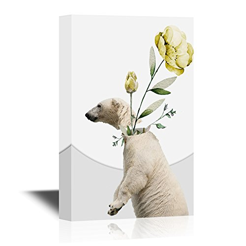 Abstract Art Featuring a Polar Bear and Flowers
