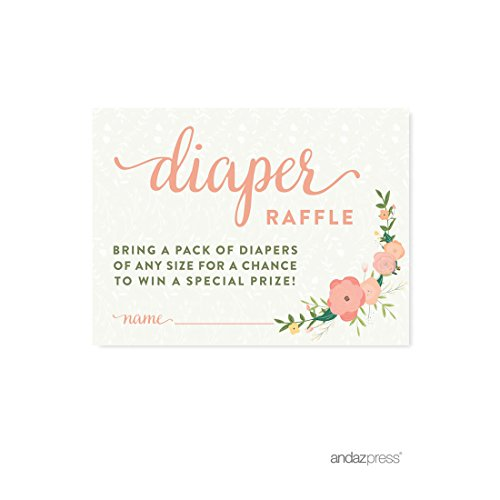 Floral Diapers (Andaz Press Floral Roses Girl Baby Shower Collection, Games, Activities, Decorations, Diaper Raffle Cards, 30-pack)