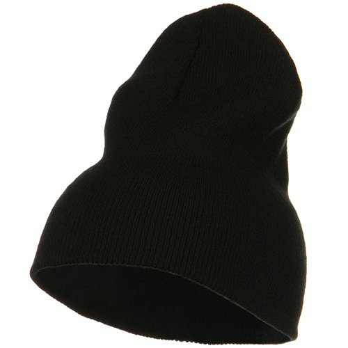 Big Stretch Plain Classic Short Beanie - Black (for Big Head) (Xxl Cap Skull)