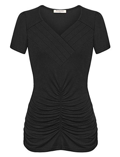 Cotton Blend Blouse (Nomorer Short Sleeve Women Tops and Blouses, Womens Pleated V Neckline Summer T Cotton-Blend Blouse Tops (Black, M))