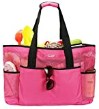 Mesh Beach Bag -Extra Large Beach Tote Bag - Grocery & Picnic Tote Travel Bags Rose