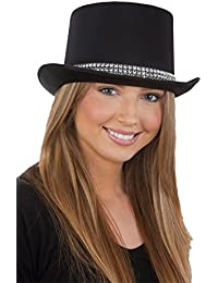 Men's Satin Top Hat with Rhinestone Band