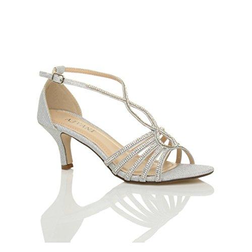 Damen Hoher Absatz Hochzeit Elegant T-Riemen Riemchensandalen Schuhe Größe 5 38