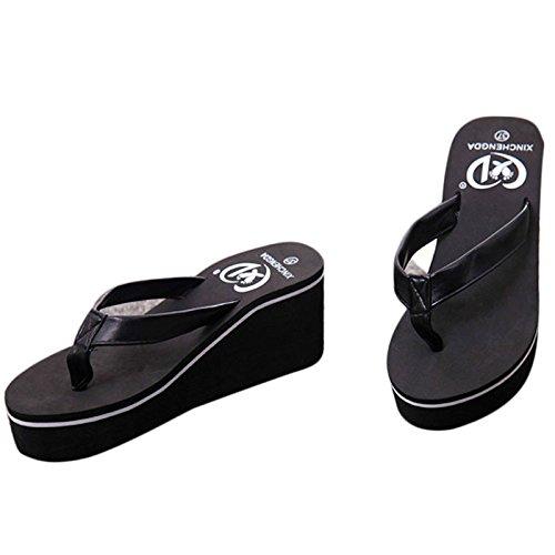 3f02c06844568d Creazrise Women s Women s Fashion Muffin Slope Sandals Bohemian Platform  Thongs Flip Flop (Black