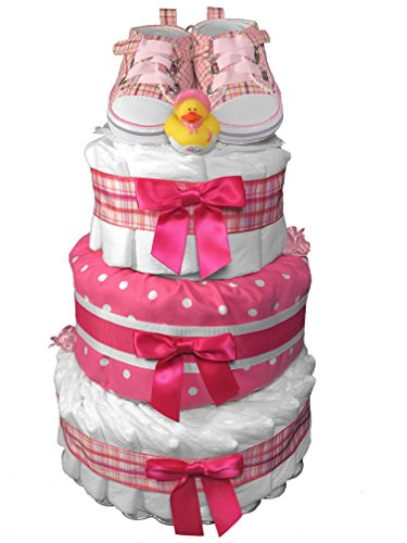Pink Tennis Shoes Diaper Cake for a Girl - Newborn Gift - Baby Shower Centerpiece from Sunshine Gift Baskets