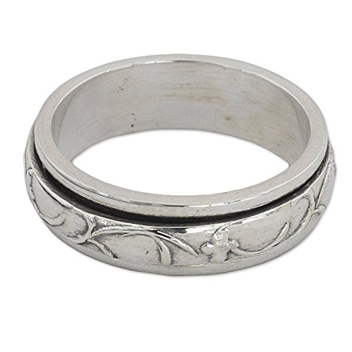 NOVICA .925 Sterling Silver Floral Meditation Spinner Ring, Spinning Vines