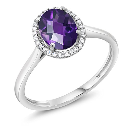 10K White Gold Diamond Halo Engagement Ring 1.00 Ct Oval Checkerboard Purple Amethyst (Available in size 5, 6, 7, 8, 9)