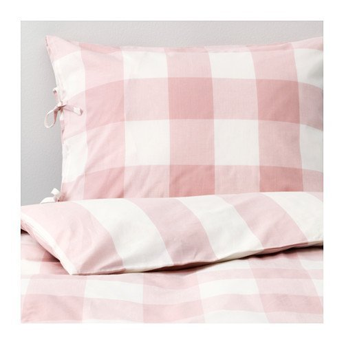 Ikea Emmie Ruta Twin Duvet Cover and Pillowcases Light Pink White 904.020.31