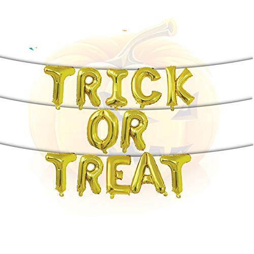 (Rose&Wood Trick Or Treat Foil Letter Balloons Hanging Banner for Halloween Trick Treat Scary Party Fun, 16