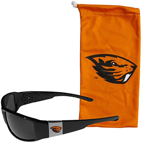 NCAA Oregon State Beavers Chrome Wrap Sunglasses and Bag, Adult Size, Black
