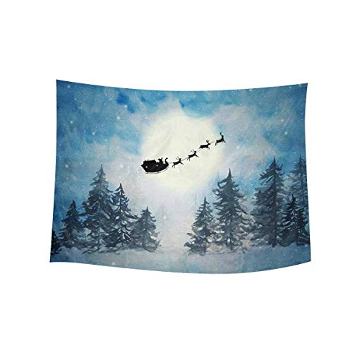 InterestPrint Fantastic Happy Christmas Santa with Reindeer in Starry Night Tapestry Wall Hanging Tapestries Wall Art Home Decor for Bedroom Living Room Dorm, 60W X 40L Inch