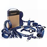 HIAIC Mouth Eye Mask Hand and Foot Breast Bundle Whip Collar Set Toy - Blue