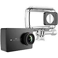 YI 4K Action and Sports Camera, 4K/30fps Video 12MP Raw Image with EIS, Live Stream, Voice Control, Waterproof Case - Black