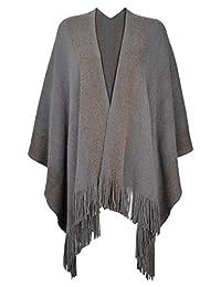 b0d1578183 ZLYC Women s Shawl Golden Trim Knit Fringe Poncho Coat Cardigan Blanket Wrap