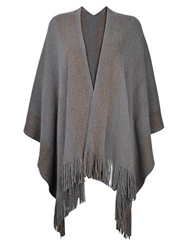 ZLYC Women's Shawl Golden Trim Knit Blanket Wrap Fringe Poncho Coat Cardigan (Grey)