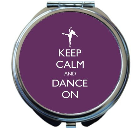 Rikki Knight Keep Calm and Dance On Purple Color Design Round Compact Mirror by Rikki Knight
