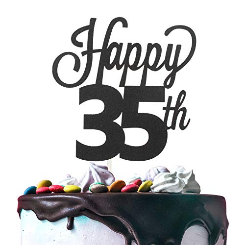 35th Happy Birthday Cake Topper Premium Double Sided Black Glitter Cardstock Paper Party Decoration - 6'' x 8'' Thirty-fifth 35 Years Old Bday Wedding Anniversary Topper.
