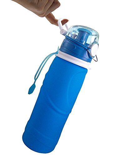 Elfera Collapsible Water Bottle, Leak-proof Silicone Sports Bottle-1000ml with BPA Free, FDA Approved, Medical Grade Silicone for Sports,Travel and Outdoor Use