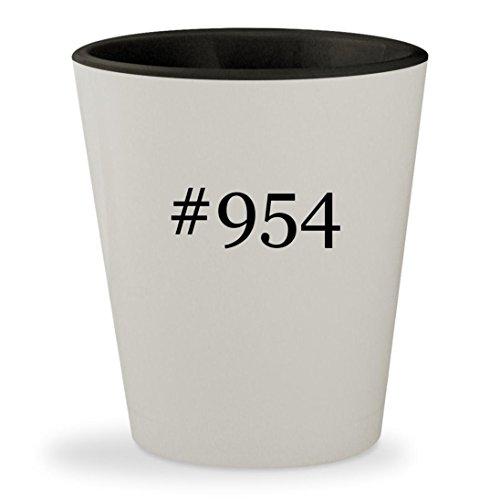 #954 - Hashtag White Outer & Black Inner Ceramic 1.5oz Shot - Rb2140 Red