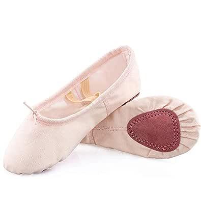 Koolen Ballet Shoes, Canvas Upper & Leather Sole Ballet Slippers, Ballet Dance Shoes for Girls (Toddler/Little Kid/Big Kid/Women) Pink Size: 1 Little Kid