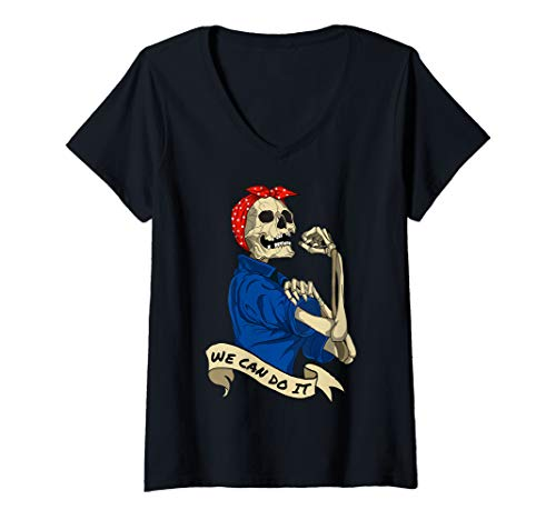 Unique Homemade Halloween Costume Ideas For Adults (Womens Rosie Riveter We Can do It Skeleton Halloween Party Costume V-Neck)