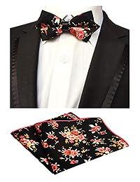Men's Black Red Floral Flowers Cotton Bowtie Wedding Bow Tie & Pocket Square Set