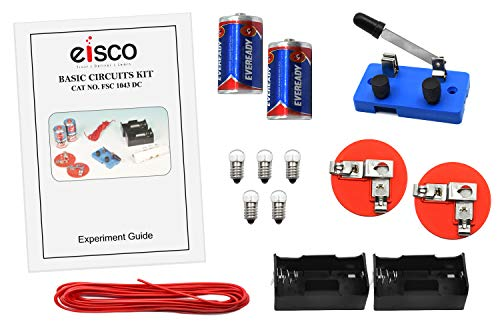 Eisco Labs Basic Beginner Circuit Kit for Teaching Series and Parallel Circuits- Switch, (2)