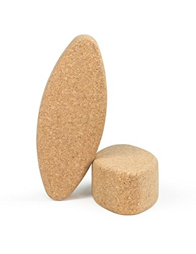 Egg Shape Natural Cork Yoga Block 12in x 4.75in x 3in - 2 Pack