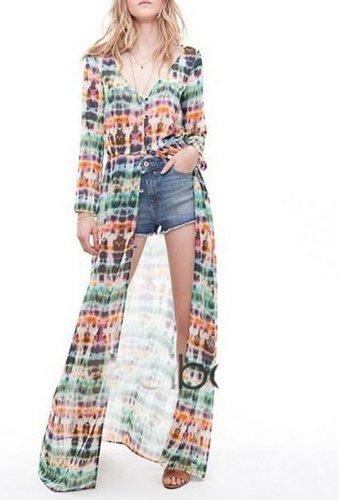 WIIPU Vintage Bohemia Tie-Dye Printing Button Up Cardigan Maxi Dress S M L(J28) (M)