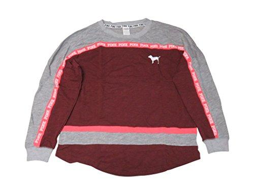 men's Pink Varsity Crew Sweatshirt Russian Ruby Grey Large (Ruby Ribbed Tank Top)
