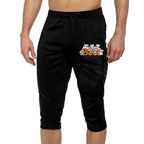 Happy Halloween Capris Drawstring Eco Crop Pant Running Workout Leggings Pants Gym Athletic Sport Trousers Black (Park Ultra Lounge Halloween)