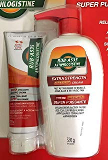 Rub A535 Antiphlogistine Extra Strength Cream 350g Bottles Plus 100g Tube Value Pack (Warm Penetrating Relief for Muscle, Joint, Back Pains and Arthritis) - Made in Canada by Rub A535