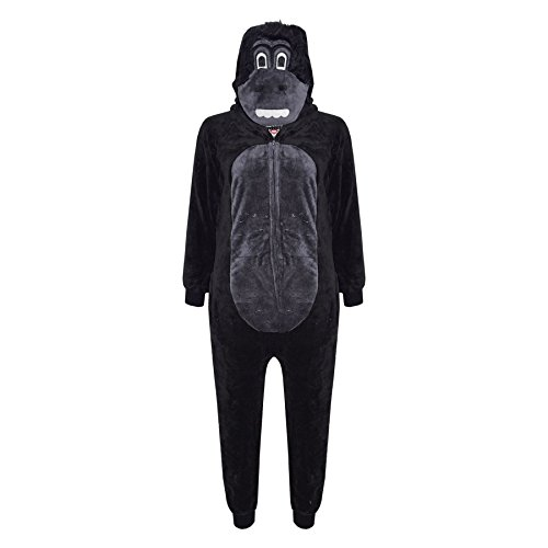 Kids Girls Boys Onesie Soft Fluffy Gorilla All in One Halloween Costume 7-14 Yr -
