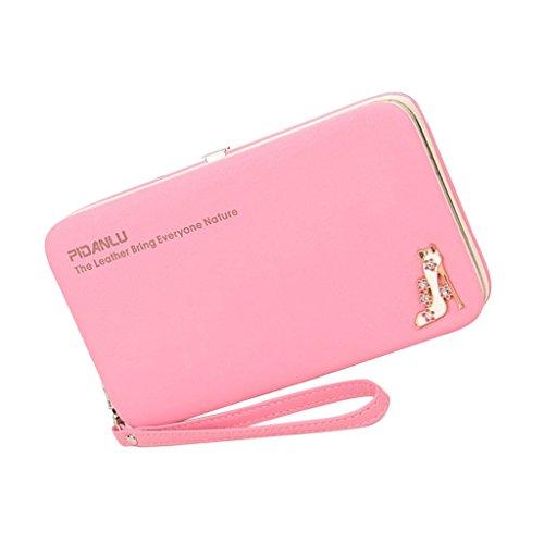 Sharplace Donna Moda Lungo Pu Borsa Portafoglio Della Moneta Cellulare Sacchetto Portamonete Multicolore - Rosa, Taglia unica