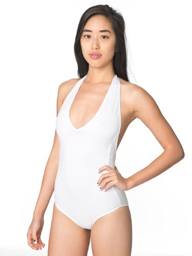 American Apparel Cotton Spandex Jersey Halter One-Piece Leotard, White, - American Apparel Tie