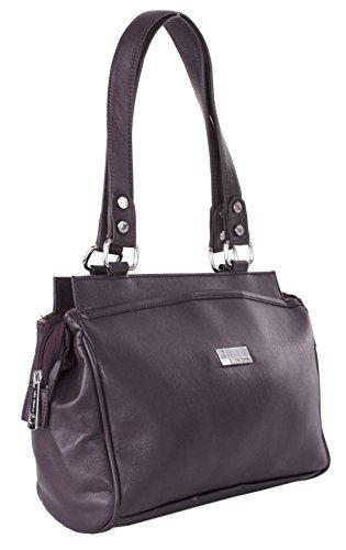 Big Handbag Shop Womens Medium Size Plain Top Handle Shoulder Bag (Deep (Deep Purple Leather Handbags)