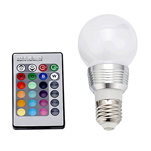 HDE Multi-Setting Energy Efficient 5 Watt Color Changing Frosted E27 LED Light Bulb with Wireless Remote (Rave Lightbulb compare prices)