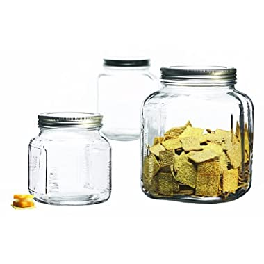 Anchor Hocking 3-Piece Glass Cracker Jar Canister Set