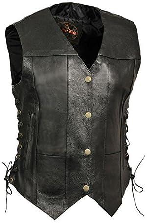 Leather King Women's 6-Pocket Side Lace Vest (Black, Medium) by LEATHER KING