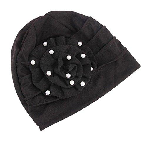 JPOQW Women Floral Cancer Chemo Hat Headgear Beaded Muslim Headscarf Hat