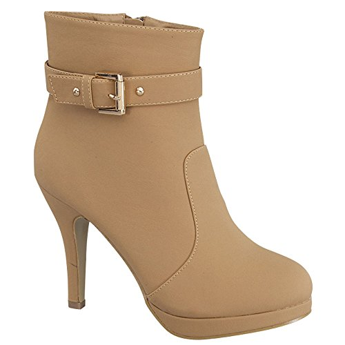 Women's Stiletto Buckle Strap 15 Moda George Heel Ankle Tan Booties Top q4RtYPB